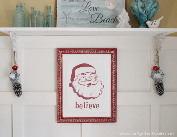 Santa - DIY Believe Sign - Finished - #Santa #believe #Christmas #holidaydecor #santaclaus artsychicksrule.com