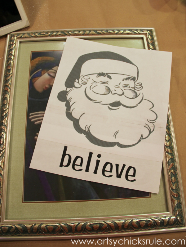Santa - DIY Believe Sign - Print out and thrifty frame - #Santa #believe #Christmas #holidaydecor #santaclaus artsychicksrule.com