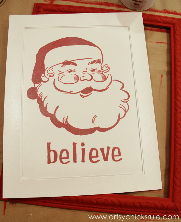 Santa - DIY Believe Sign - Sprayed with Pearl Coat - #Santa #believe #Christmas #holidaydecor #santaclaus artsychicksrule.com