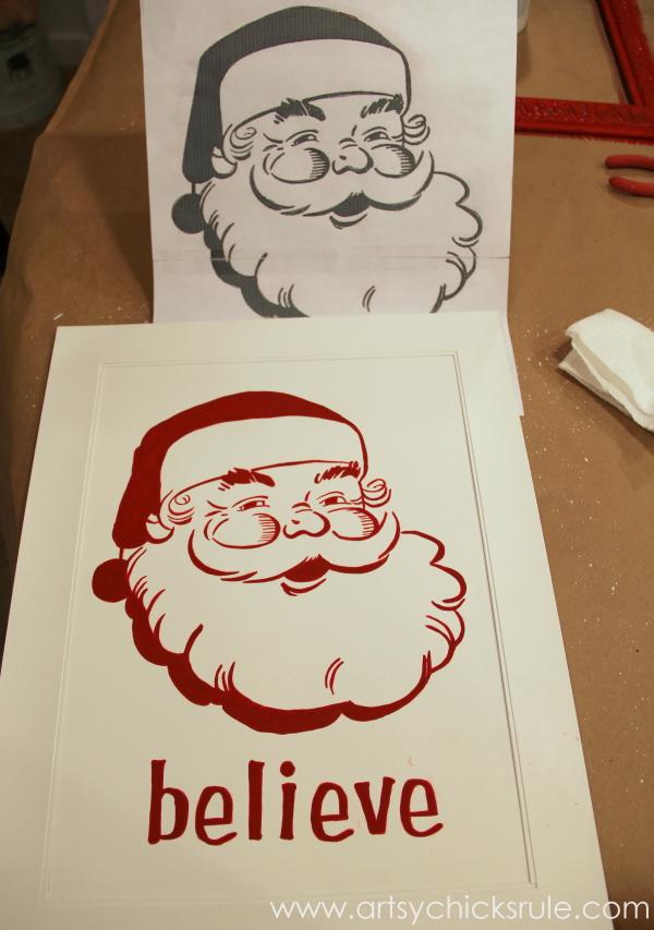 Santa - DIY Believe Sign - hand painted image - #Santa #believe #Christmas #holidaydecor #santaclaus artsychicksrule.com