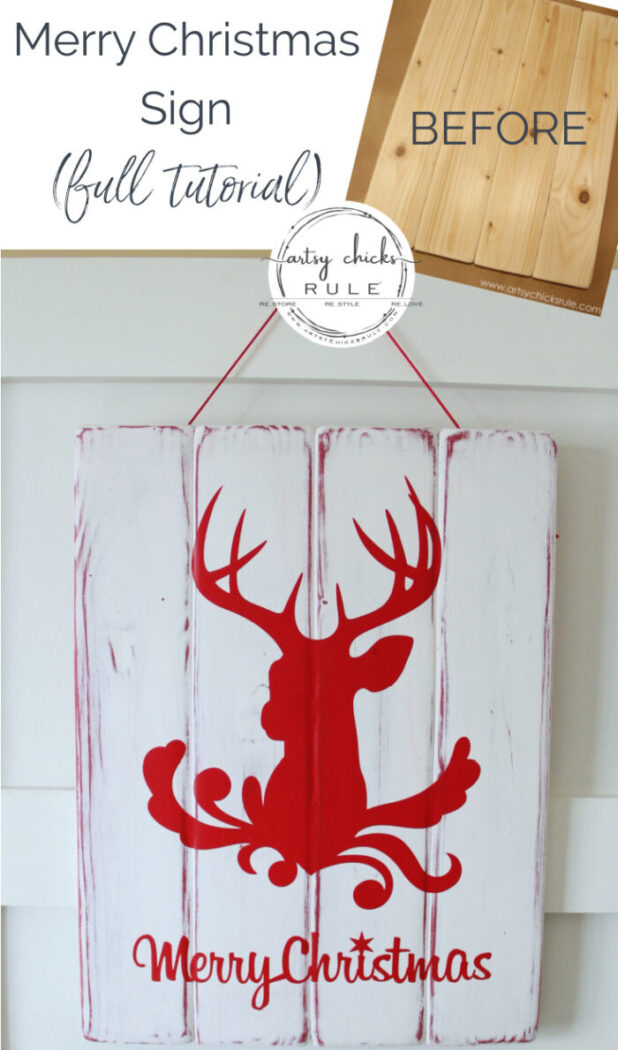 Silhouette Merry Christmas Sign Tutorial artsychicksrule.com #merrychristmassign