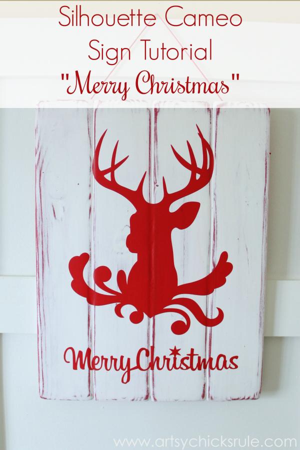 Silhouette Merry Christmas Sign Tutorial - Complete - #ad #sponsored #silhouette #merrychristmas #sign #diy #ad #sponsored #blackfriday artsychicksrule.com