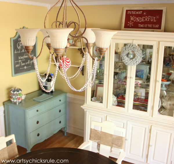 Christmas Home Tour 2014 - Red and Teal Themed - Dining - Room - #christmas #hometour #holidays #holidaydecor #redandteal artsychicksrule.com