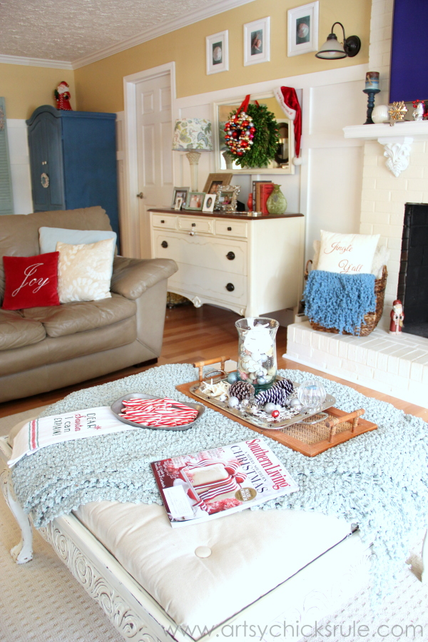 Christmas Home Tour 2014 - Red and Teal Themed - Family Room - Antique Dresser - #christmas #hometour #holidays #holidaydecor #redandteal artsychicksrule.com