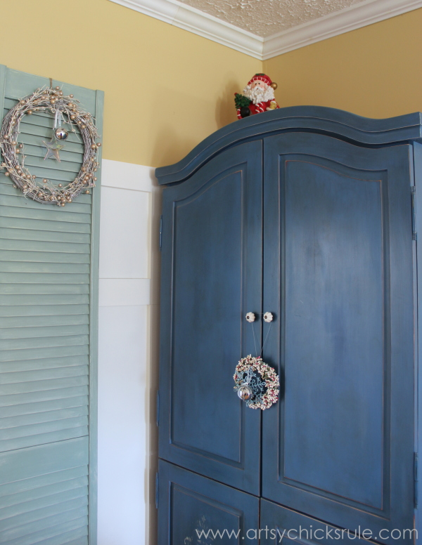 Christmas Home Tour 2014 - Red and Teal Themed - Family Room - Chalk Painted Armoire - #christmas #hometour #holidays #holidaydecor #redandteal artsychicksrule.com