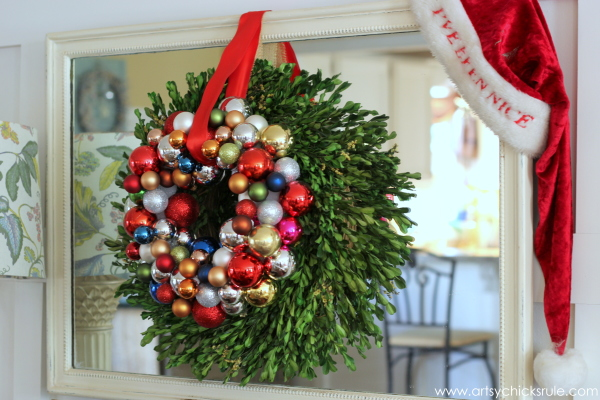 Christmas Home Tour 2014 - Red and Teal Themed - Family Room - DIY Ornament Wreath - #christmas #hometour #holidays #holidaydecor #redandteal artsychicksrule.com