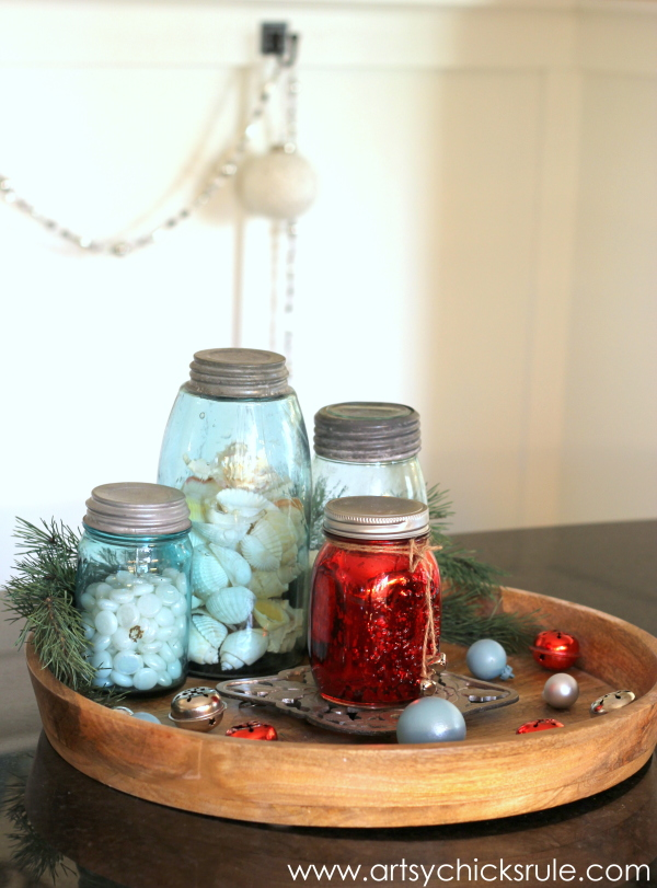 Christmas Home Tour 2014   Red And Teal Themed   Kitchen   Centerpiece    #christmas