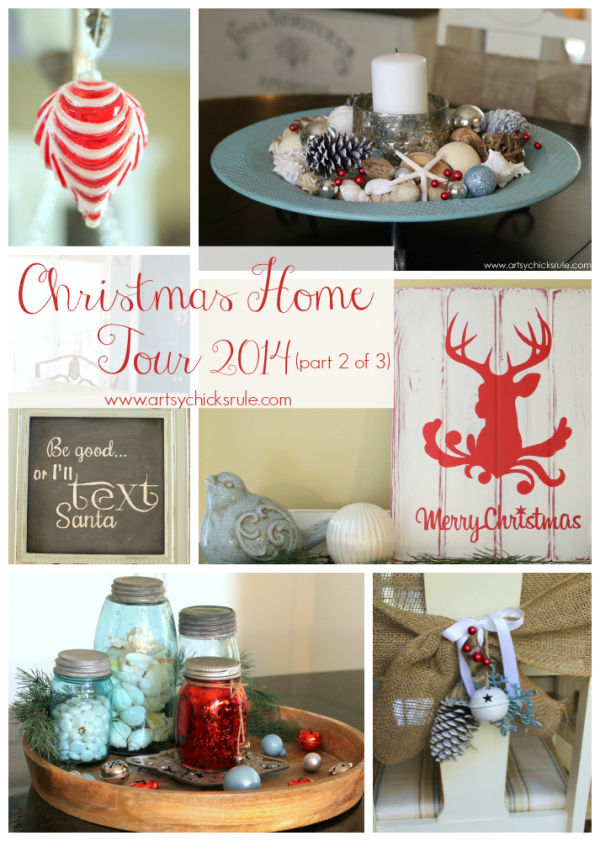 Christmas Home Tour 2014 - Red and Teal Themed - Kitchen Tour -  #christmas #hometour #holidays #holidaydecor #redandteal artsychicksrule.com
