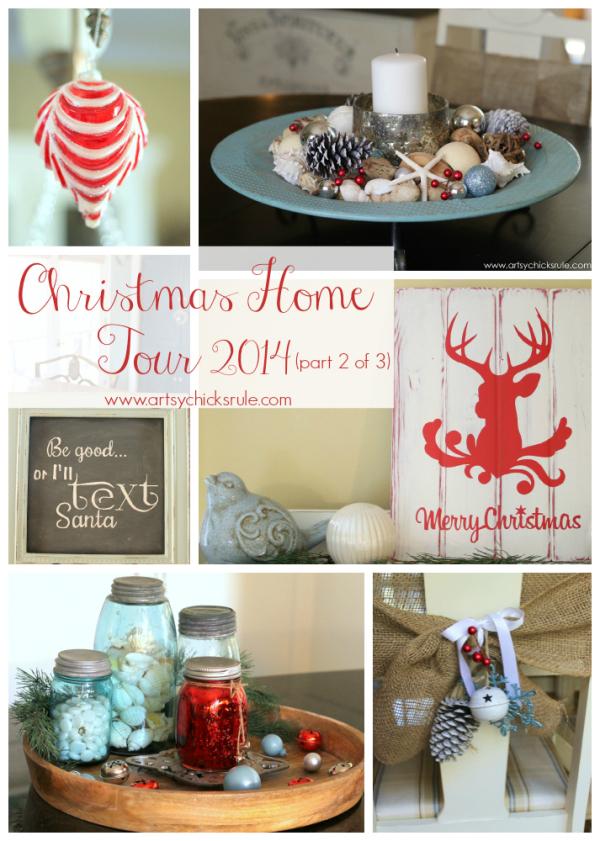 Christmas Home Tour 2014 - Red and Teal Themed - Kitchen Tour -  #christmas #hometour #holidays #holidaydecor #redandteal artsychicksrule.com