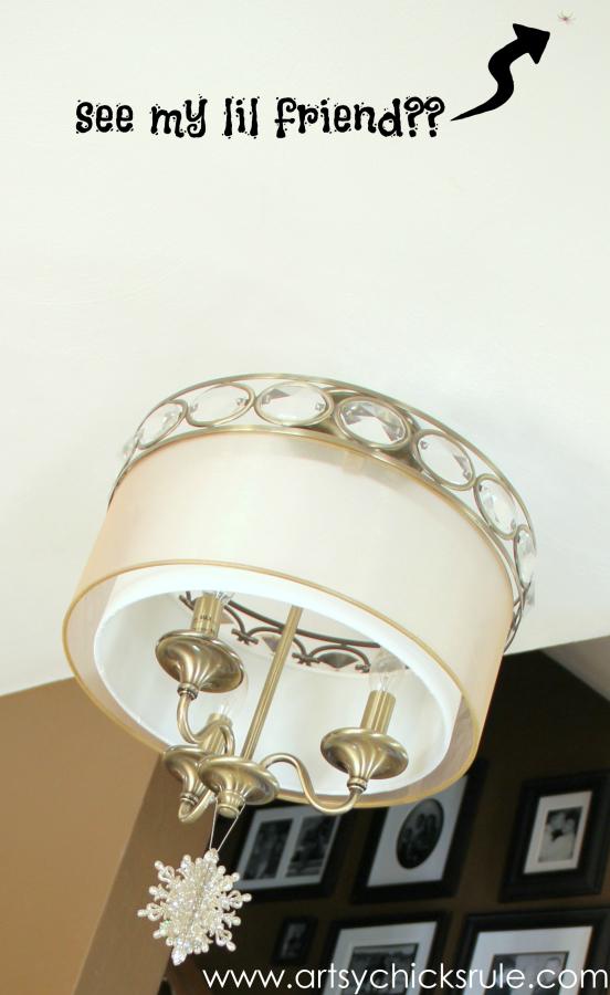 Christmas Home Tour - Budget Decor - Light Bling and a spider - #holidaydecor #Christmas artsychicksrule.com
