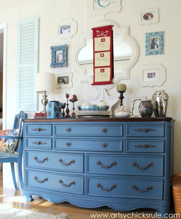 Christmas Home Tour Part 1 - Aubusson Blue Dresser - #Christmastour #hometour #chalkpaint #aubussonblue #holidays #holidaydecor #artsychicksrule artsychicksrule.com