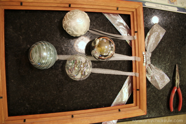 Easy, DIY Framed Ornament Wreath - attaching ornaments - Welcome Home Tour - #wreath #diy #ornamentwreath artsychicksrule.com