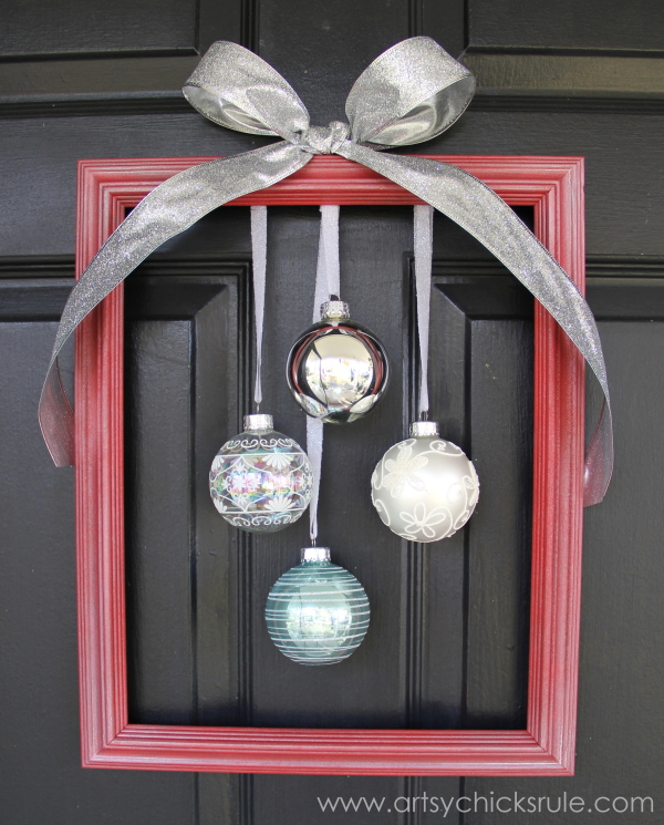 Easy, DIY Framed Ornament Wreath - finished - Welcome Home Tour - #wreath #diy #ornamentwreath artsychicksrule.com