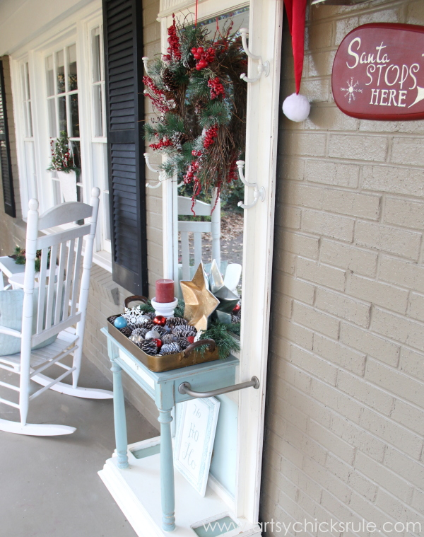 Easy, DIY Framed Ornament Wreath - front porch - Welcome Home Tour - #wreath #diy #ornamentwreath artsychicksrule.com