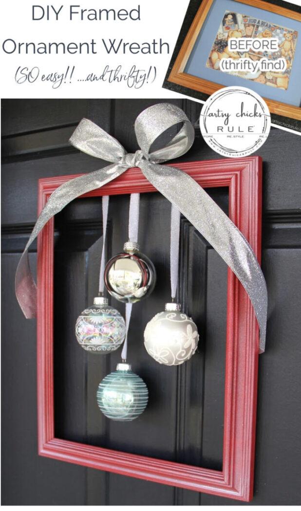 Easy, DIY Framed Ornament Wreath (and thrifty too!) artsychicksrule.com #Christmaswreath #holidaywreathideas