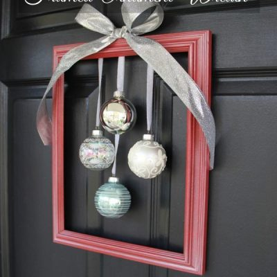 DIY Holiday Framed Ornament Wreath ( Welcome Home Tour)