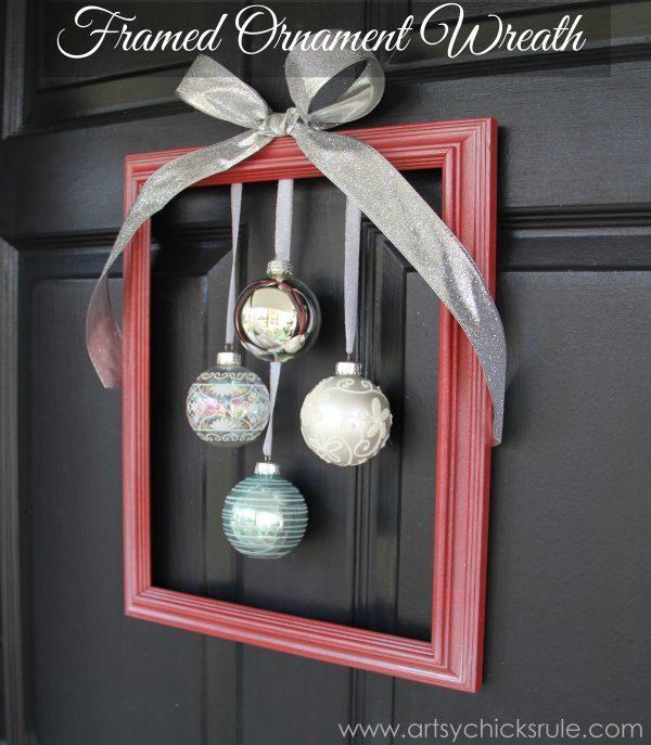Our Diy House 2014 Home Tour: DIY Holiday Framed Ornament Wreath ( Welcome Home Tour