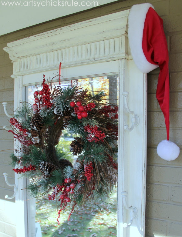 Hall Tree decorated for the holidays - Welcome Home Tour - #wreath #diy #porch #ornamentwreath artsychicksrule.com