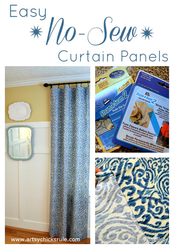 No Sew Curtain Panels - #nosew #bestof2014 #artsychicksrule artsychicksrule.com