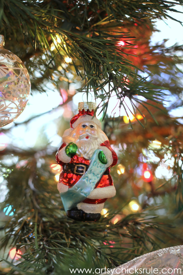 Oh Christmas Tree - 2014 - Santa with Teal list -#Christmastree #ornaments #holidaydecor #holidays #Christmas artsychicksrule.com