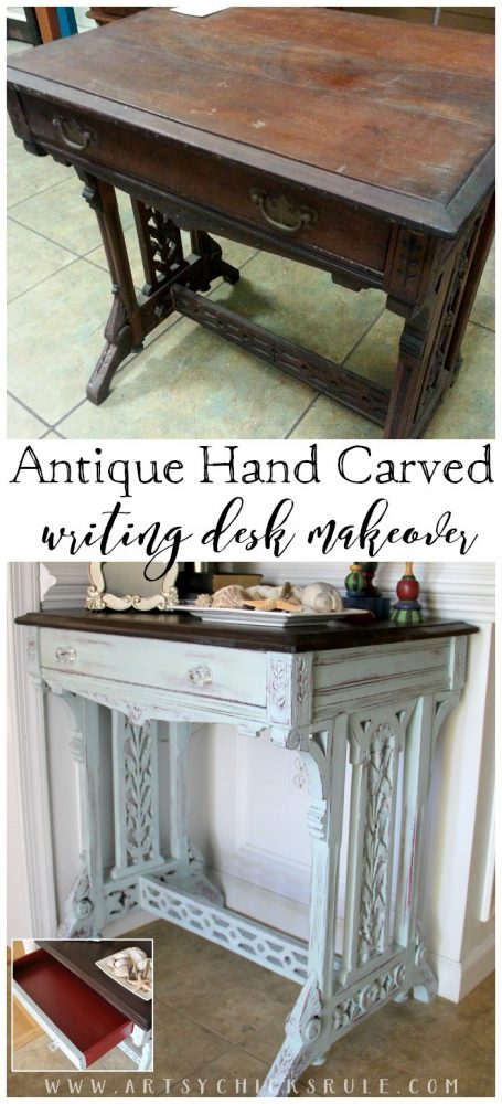 Antique Hand Carved Writing Desk Makeover - artsychicksrule.com
