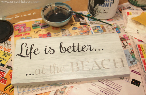 Life is Better at the Beach - DIY Sign - hand painting in - #sign #beach #lifeisbetter artsychicksrule.com