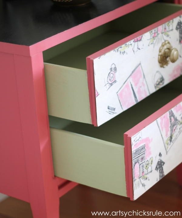 Parisian Nightstand Makeover with Fabric & Chalk Paint - fabric inspired projects- #parisian #french #chalkpaint #milkpaint artsychicksrule.com