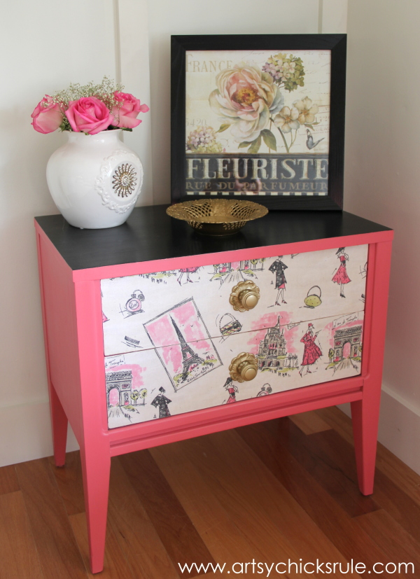 """Pretty in Pink"" Parisian Night Stand Makeover with Chalk Paint - artsychicksrule.com"