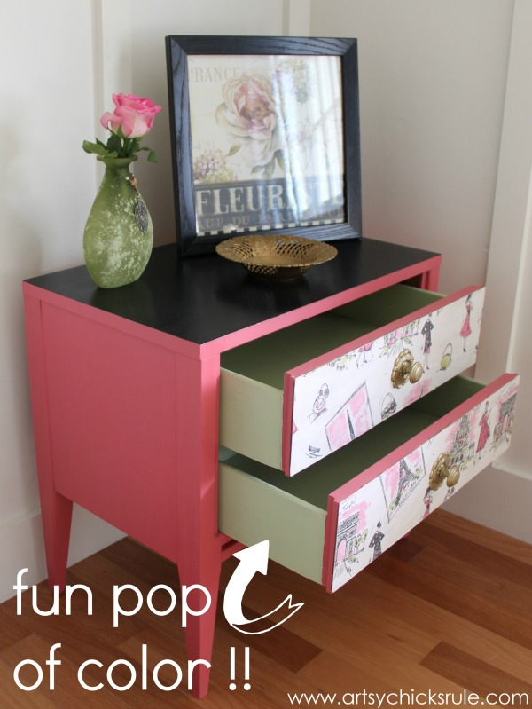 Pretty in Pink Parisian Nightstand Makeover with Fabric & Chalk Paint - pop of color - #parisian #french #chalkpaint #milkpaint artsychicksrule.com