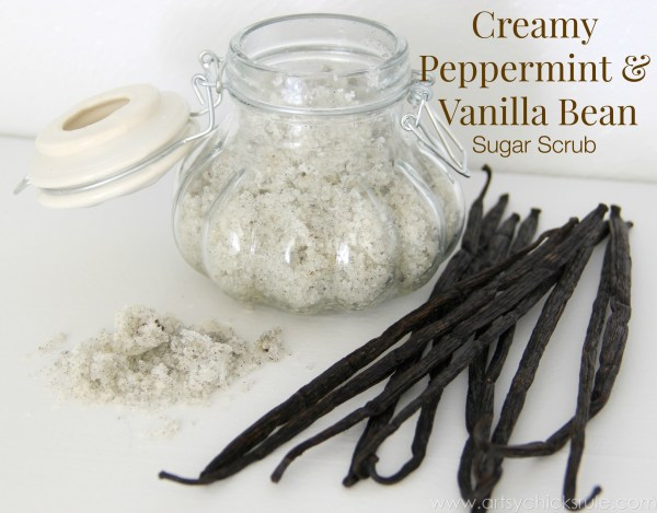 Simple DIY Sugar Scrub Recipes (you can do) - Creamy Peppermint Vanilla Bean - #vanillabean #peppermint #sugarscrub #diy artsychicksrule.com