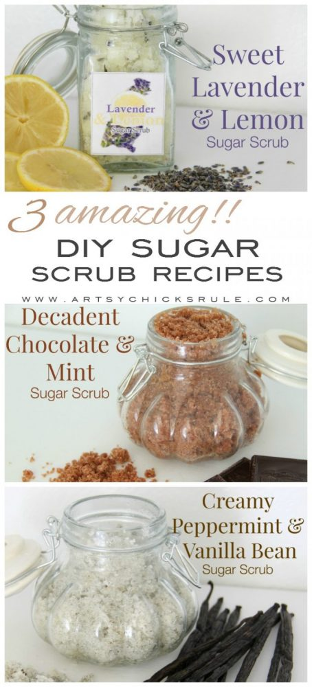 3 AMAZING (and simple!!) DIY Sugar Scrub Recipes (you can make!) artsychicksrule.com #sugarscrubs #sugarscrubrecipe #diysugarscrub #essentialoils
