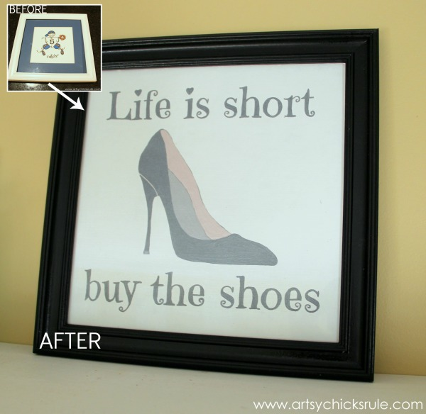 Life is Short Buy the Shoes - DIY Sign Tutorial - Painted Frame Black - #thriftymakeover #thriftydecor