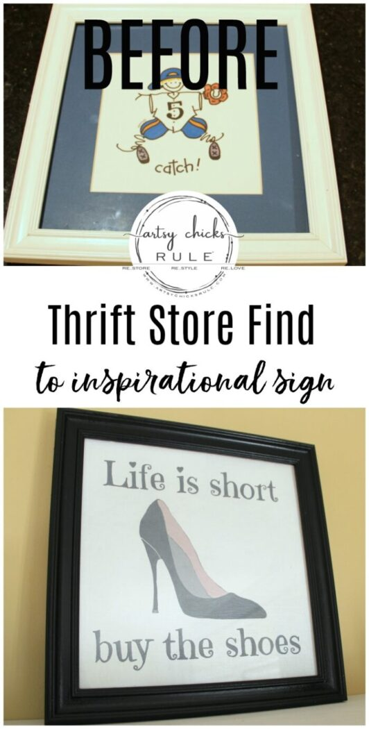 Life is Short Buy the Shoes - DIY Sign Tutorial - Finished - artsychicksrule.com #lifeisshortbuytheshoes #shoesign