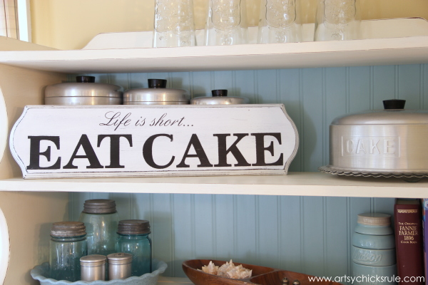Life is Short, EAT CAKE - Bakers Hutch - #eatcake #cake #sign #cameo #sillhouette #diytutorial artsychicksrule.com