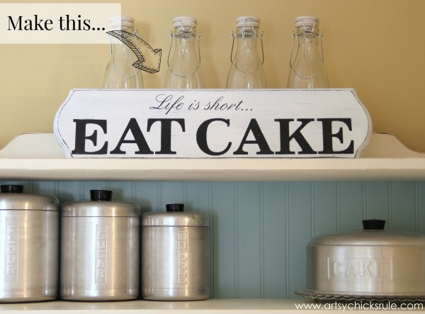 Life is Short, EAT CAKE - Make this - #eatcake #cake #sign #cameo #sillhouette #diytutorial artsychicksrule.com