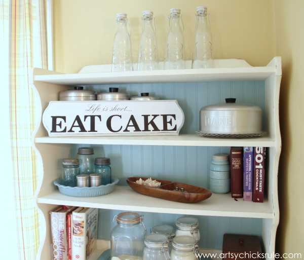 Life is Short, EAT CAKE - On Bakers Hutch - #eatcake #cake #sign #cameo #sillhouette #diytutorial artsychicksrule.com