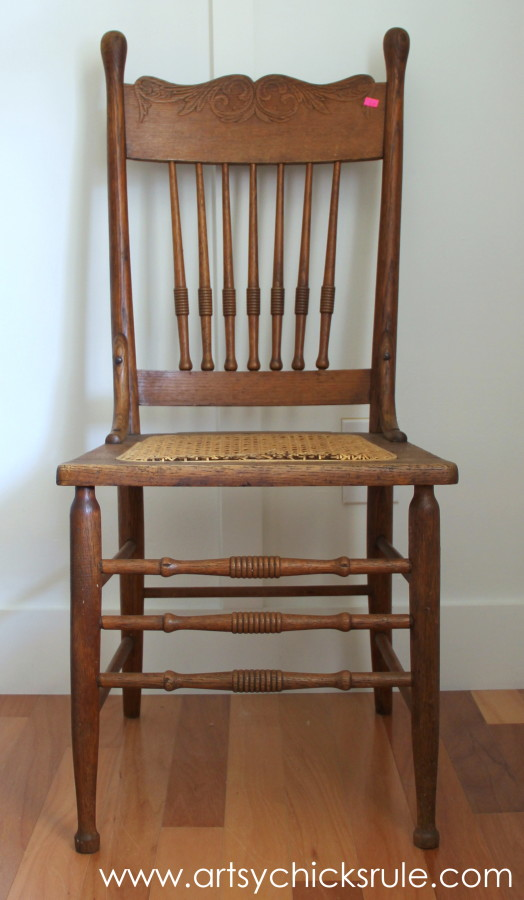 Press Back Chair Update with Java Gel Stain - Before with cane seat - Antique Press Back Wood Chair Update (with Java Gel Stain) - Artsy