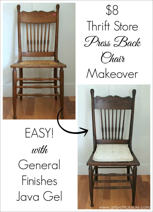 Antique Press Back Wood Chair Update (with Java Gel Stain) - Artsy Chicks  Rule® - Antique Press Back Wood Chair Update (with Java Gel Stain) - Artsy