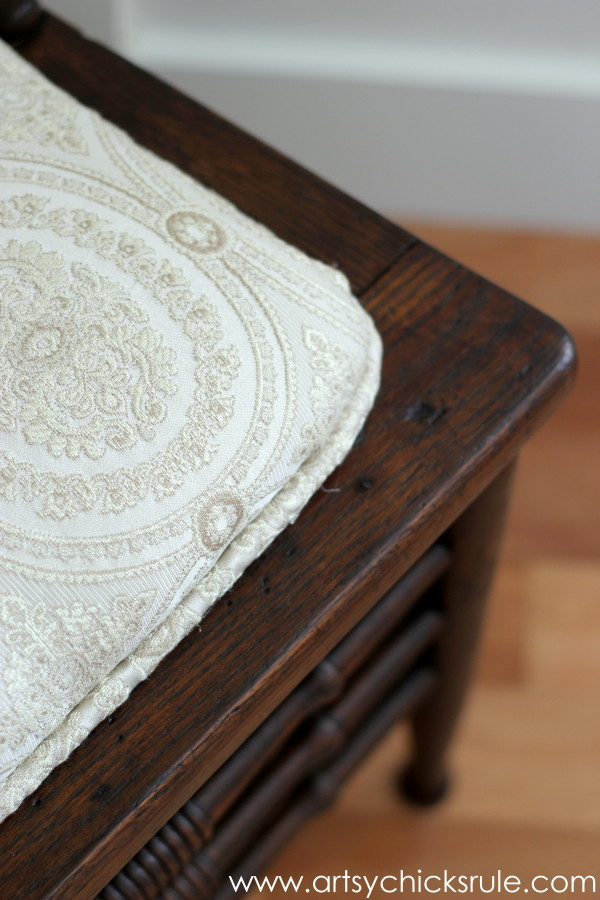 Press Back Chair Update with Java Gel Stain - fabric inspired projects