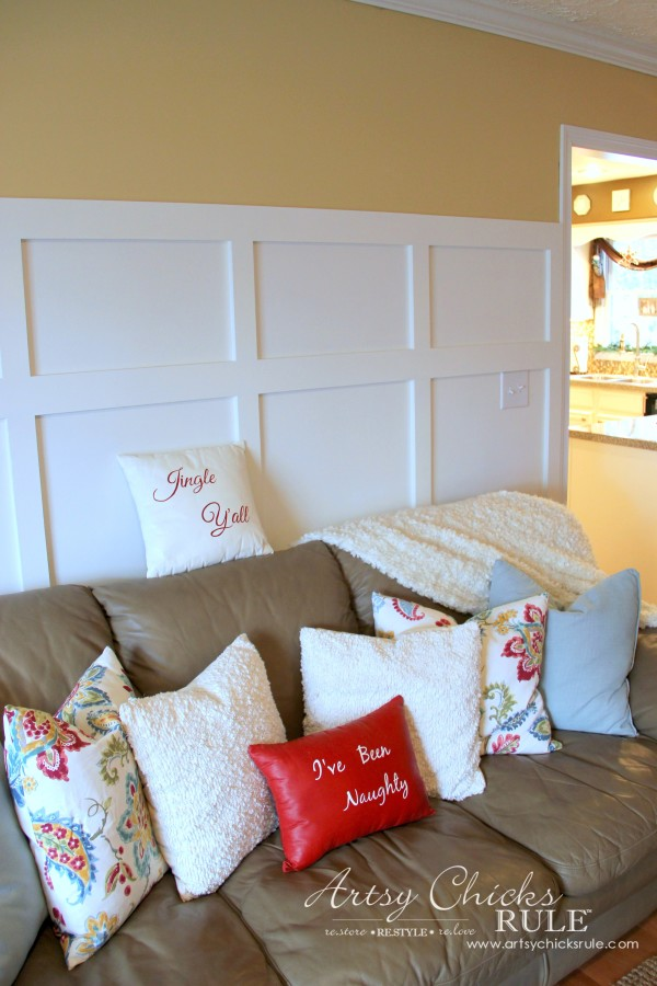 DIY Faux Board and Batten - Family Room Wall Christmas - #diy #boardandbatten artsychicksrule.com