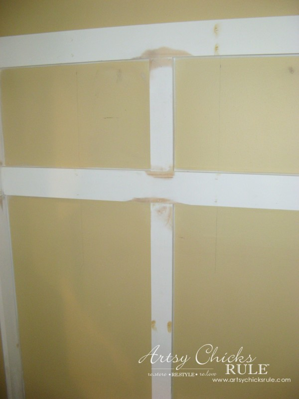 DIY Faux Board and Batten - Filled, caulked and sanded - #diy #boardandbatten artsychicksrule.com
