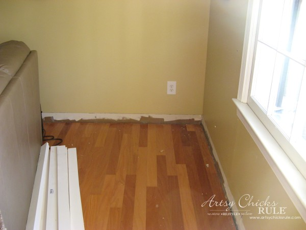 DIY Faux Board and Batten - base board removed - #diy #boardandbatten artsychicksrule.com