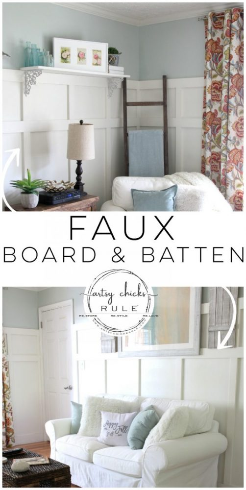 DIY Faux Board and Batten - Kitchen Wall 2 - #diy #boardandbatten artsychicksrule.com