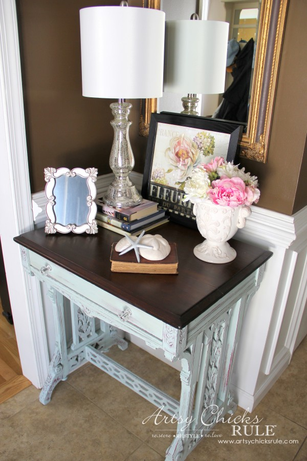 Decor Challenge - Shop Your Home Part 3 - French Coastal Foyer - #shopyourhome #homedecor #thriftydecor #thrifty artsychicksrule.com