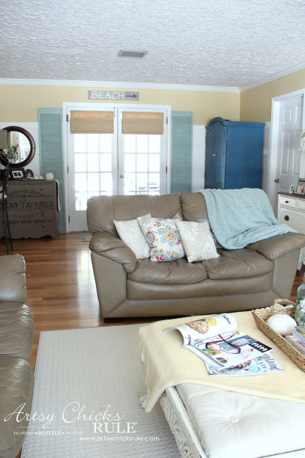 Family Room Makeover - After Back French Doors - #makeover #diy #roommakeover #artsychicksrule artsychicksrule.com