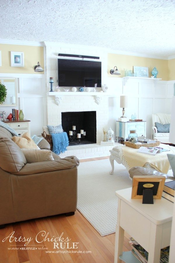 Family Room Makeover - After Fireplace - #makeover #diy #roommakeover #artsychicksrule artsychicksrule.com