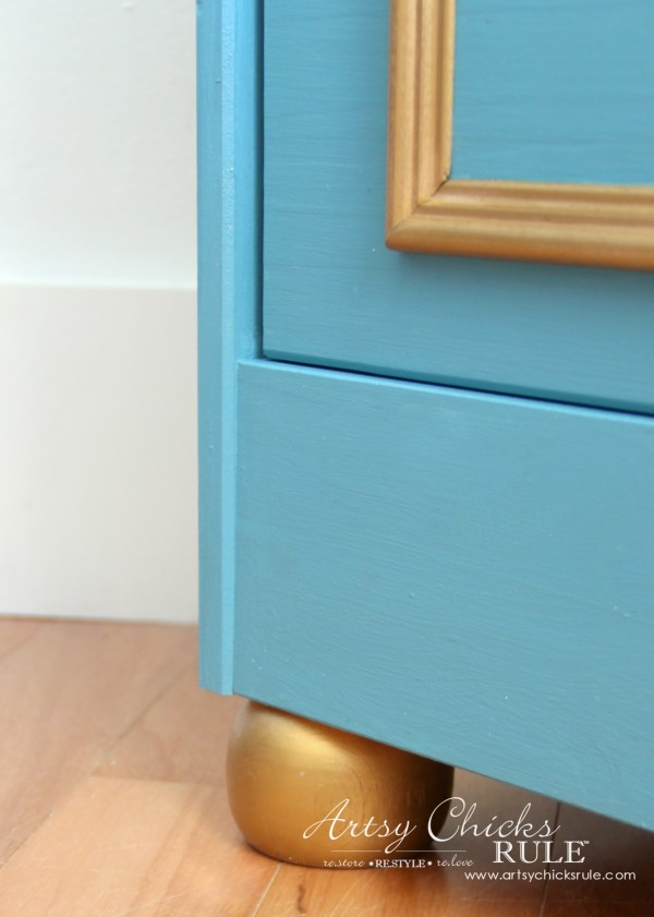 IKEA Rast Hack - Blue and Gold Chest - Hickory Hardware - Ball Feet - #ad #ikeahack #hickoryhardware #artsychicksrule