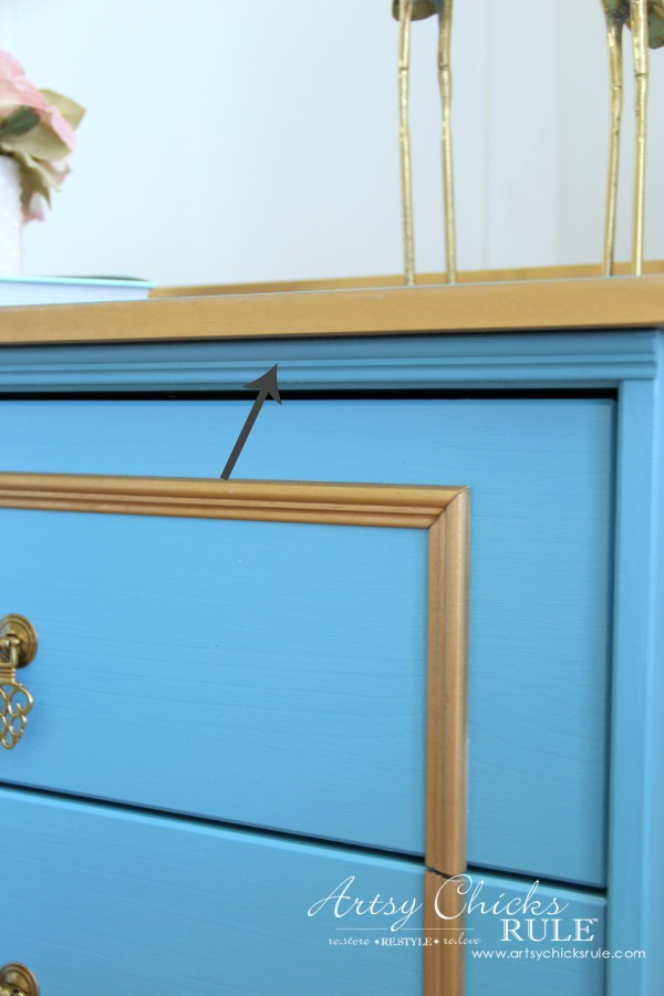 IKEA Rast Hack - Blue and Gold Chest - Hickory Hardware - Detail Trim #ad #ikeahack #hickoryhardware #artsychicksrule