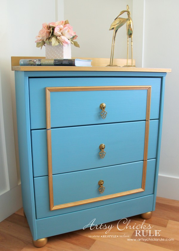 IKEA Rast Hack - Blue and Gold Chest - Hickory Hardware - MAKEOVER - #ad #ikeahack #hickoryhardware #artsychicksrule