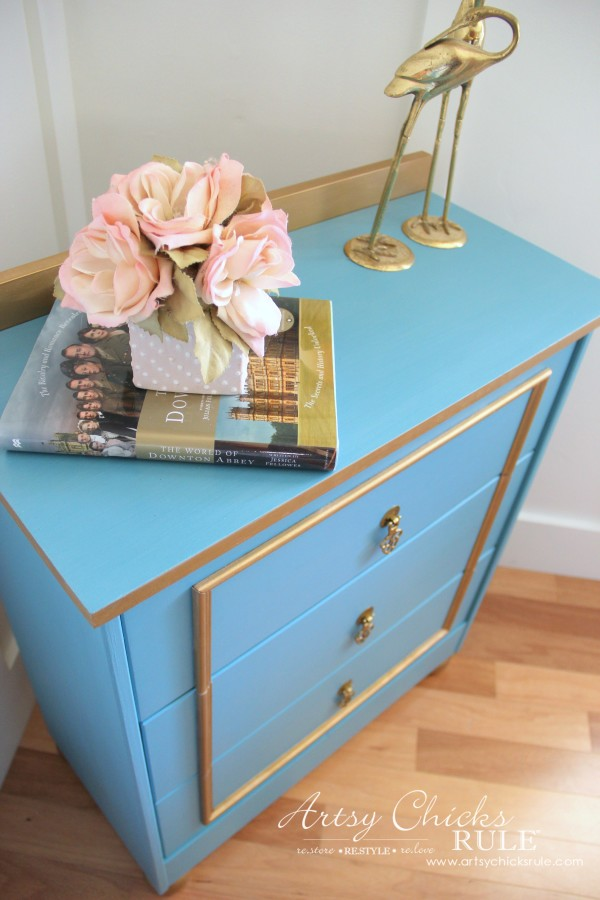IKEA Rast Hack - Blue and Gold Chest - Hickory Hardware - New Top! #ad #ikeahack #hickoryhardware #artsychicksrule